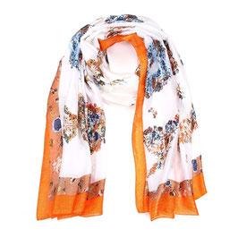 Nieuw: Sunset Fashion - Sjaal - Kleuren rand - Bloemen motief - Oranje