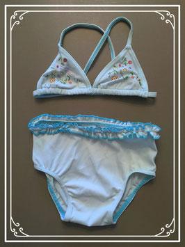 Prenatal lichtblauwe bikini met bloemetjes - maat 74-80