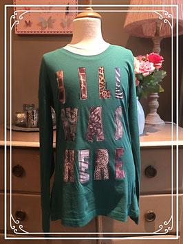 Groent shirt van Jill met tekst opdruk - maat 170-176