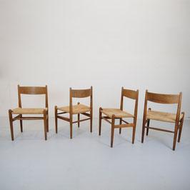 4er Set Esszimmerstühle CH36 Hans J. Wegner für Carl Hansen; Eiche & Papercord