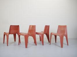 4er Set Stühle BA1171, Helmut Bätzner für Bofinger, rot