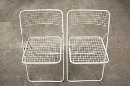 2er Set vintage IKEA Klappstühle TED Niels Gammelgaard, weiß