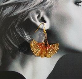 Boucle d'oreille Feuille doré