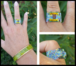 Bague Cosmic Square Mix Bleu