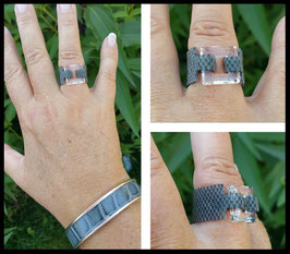 Bague Cosmic Square Gris