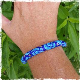 Bracelet Crocheté Rose Bleue