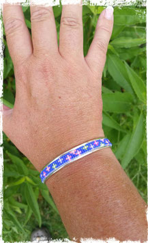 Bracelet Demi-Jonc Fleurettes Bleues