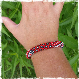 Bracelet Crocheté Rouge Graphique