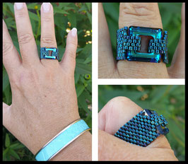 Bague Cosmic Square Turquoise