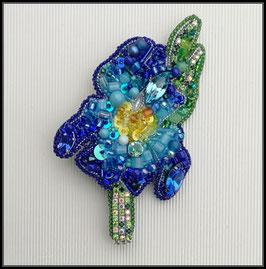Broche Iris Bleu