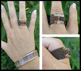 Bague Cosmic Square Marron