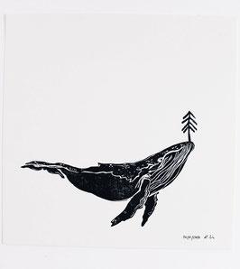 Linoldruck Wal mit Baum