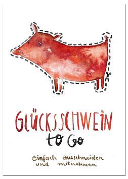 Postkarte Glücksschwein to go