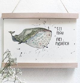 "Kunstdruck ""Froh, Frei, Fröhlich"", Wal , Aquarell"