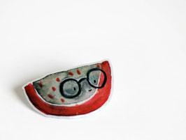 Anstecker Brillone | Melone trägt Brille