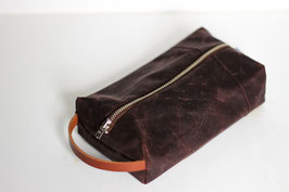 Mäppchen/ Kulturbeutel aus gewachster Baumwolle | Oilskin | dunkelrot