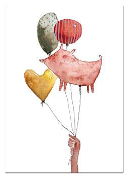 Postkarte Luftballons