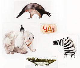 Bügelbilder SET | Kroko, Zebra, Yay, Ameisenbär, Elefant