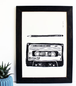 Kassette und Bleistift, Linoldruck A4