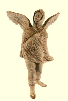 Excepcional figura de terracota griega de Tanagra. Siglo III A.C.