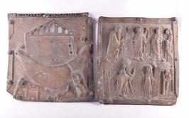 2 Paneles de bronce con escenas bíblicas