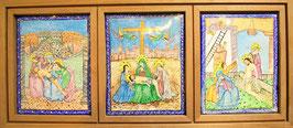 Tríptico de esmalte sobre metal con representaciones del Nuevo Testamento