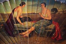 Abanico pintado a mano con escena de Julio Romero de Torres