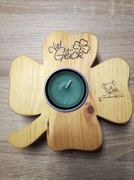 Kleeblatt mit Teelicht, beschriftet oder unbeschriftet