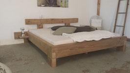 Altholzbalkenbett (optional mit Achat-Edelstein)