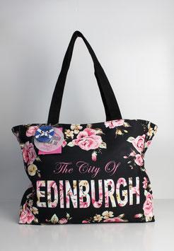 "Große Tasche Edinburgh ""flower black"""