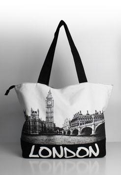 """Große Tasche London """"skyline black-white"""""""