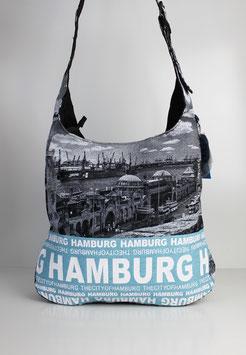 """Große Schultertasche Hamburg """"skyline blue"""""""