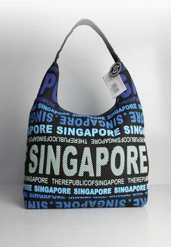 """Große Schultertasche Singapore """"urban style blue"""""""