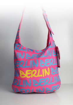 "Große Schultertasche Berlin DENIM ""pink"""
