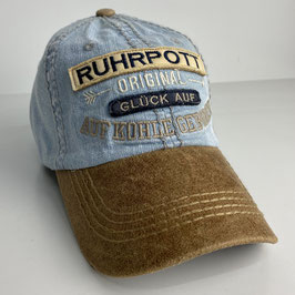 "Basecap Ruhrpott JOHNNY ""leather-blue"""