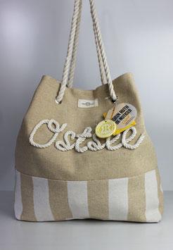 """Strandtasche Ostsee """"beige & white"""""""