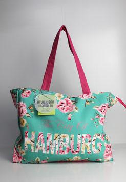 """Große Tasche Hamburg """"flower mint"""""""