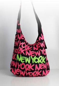 """Große Schultertasche New York """"neon style pink"""""""