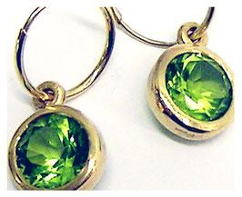 Ohrhänger, Kreolen, 585er Gold, Peridot