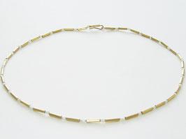 Kette, 750er Gold, Süßwasser Perlen