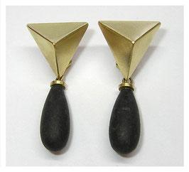 Ohrhänger, Stecker, Klips, 750er Gold, Granit Tropfen
