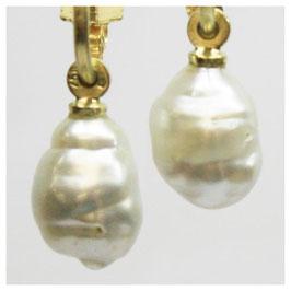 Ohrhänger, Stecker mit Creole in 750er Gold mit Barock Perle