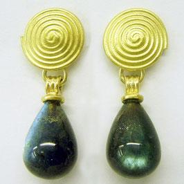 Ohrhänger aus 750er Gold mit Labradorit Tropfen
