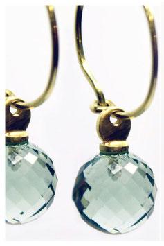 Ohrhänger, 750er Gold, Mint Quarz Perle facettiert