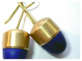 Ohrhänger mit Lapislazuli Pampeln, 750er Gold