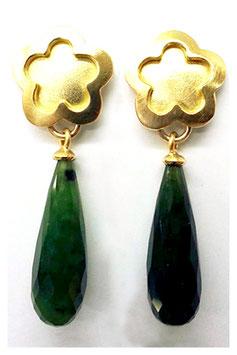 Ohrhänger mit Blume, 750erGold, Jade Pampel-Tropfen