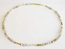 Perlen Kette, 750er Gold, mit Keshi Perlen