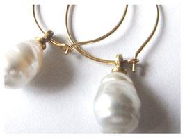 Ohrhänger, Kreolen, 750er Gold mit Barock Perle