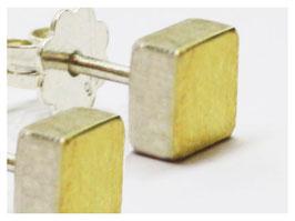 Ohrstecker, Quader mit Gold Auflage