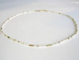 Süßwasser Perlen Kette mit 585er Gold